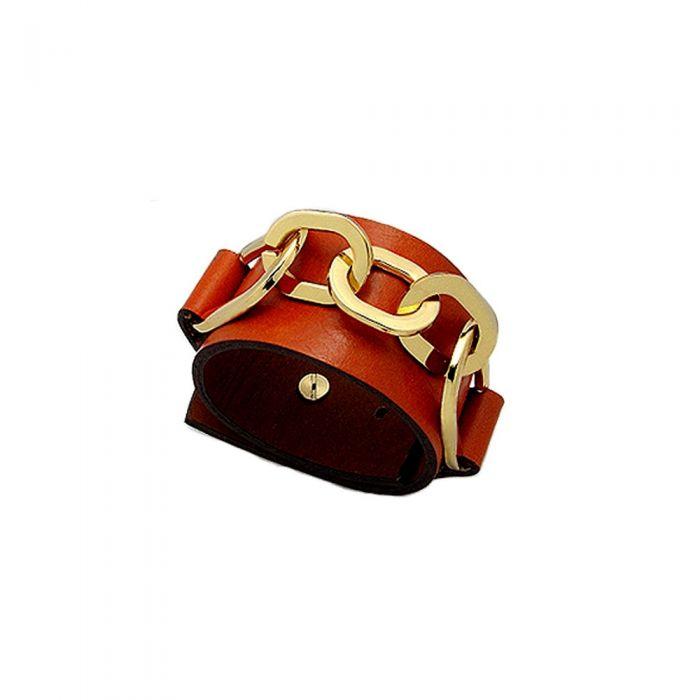 Image for Orange Leather Strap Bracelet and Gold Steel