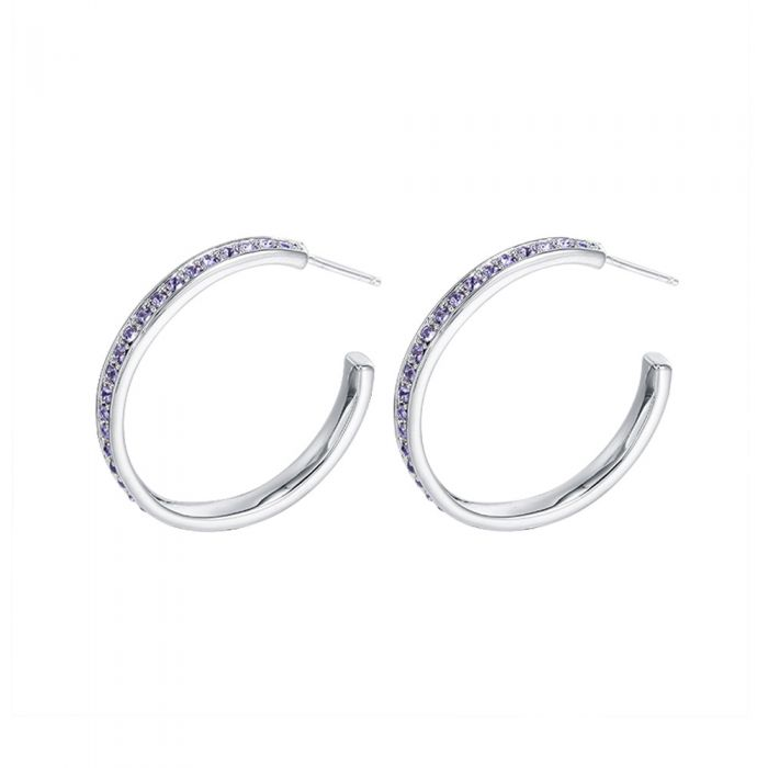 Image for Purple Swarovski Crystal Elements Hoop Earrings
