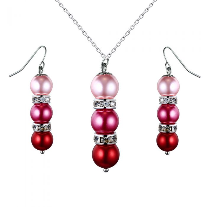 Image for Pink pearls and crystal pendant and earrings set