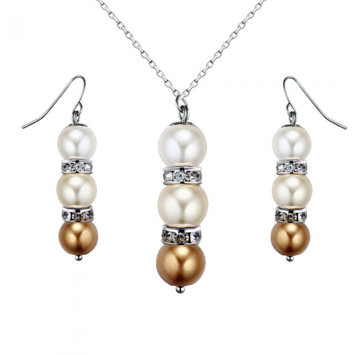 Image for Yellow Pearls, Crystal Pendant and Earrings Set
