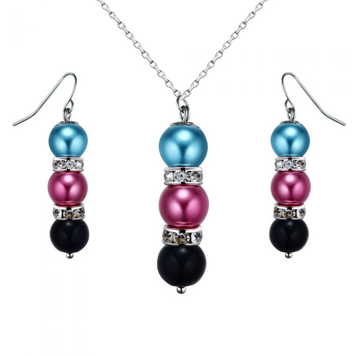 Image for Multi-coloured pearl crystal pendant and earrings set