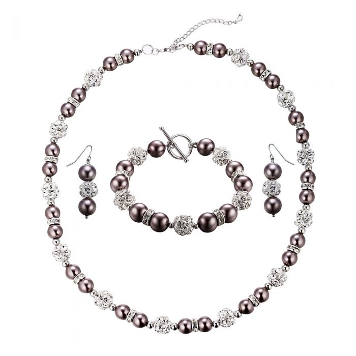 Image for Bronze Pearls, Crystal and Rhodium Plated Necklace, Bracelet and Earrings Set