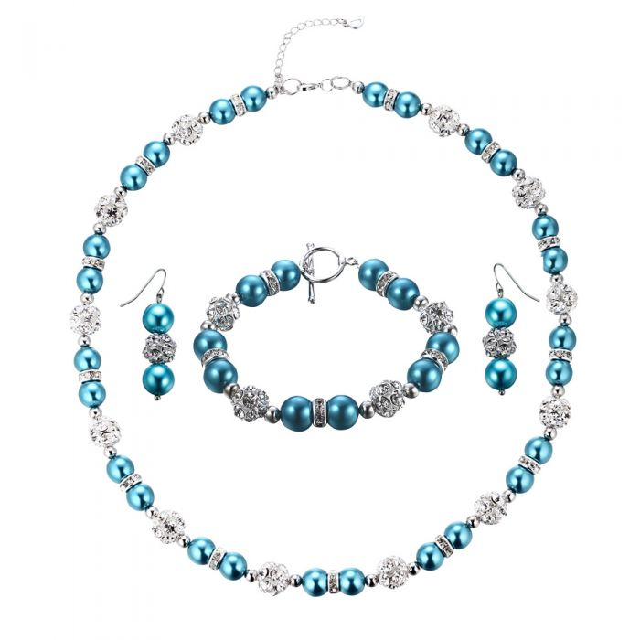 Image for Blue Pearls, Crystal and Rhodium Plated Necklace, Bracelet and Earrings Set
