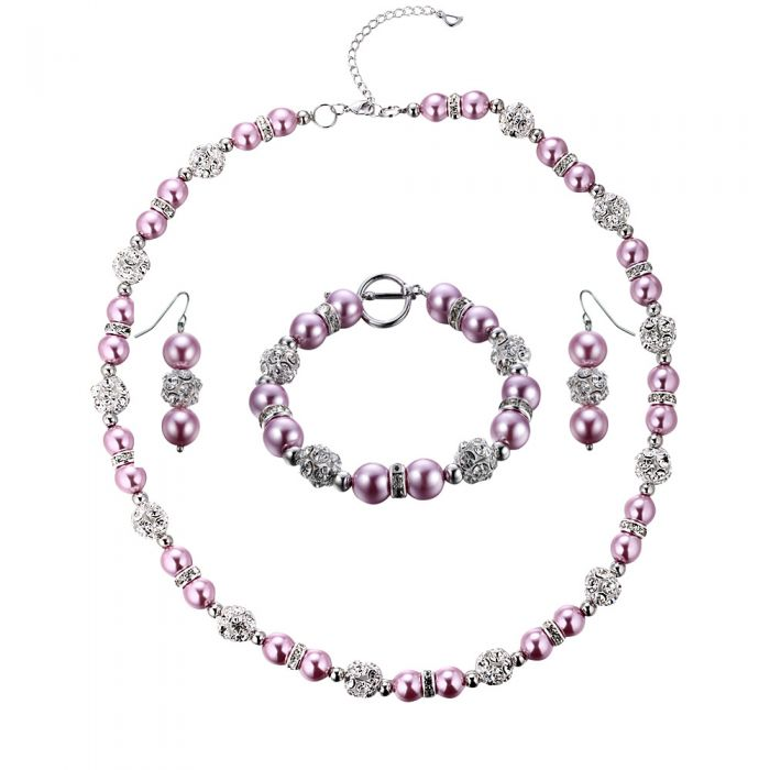 Image for Pink Pearls, Crystal and Rhodium Plated Necklace, Bracelet and Earrings Set