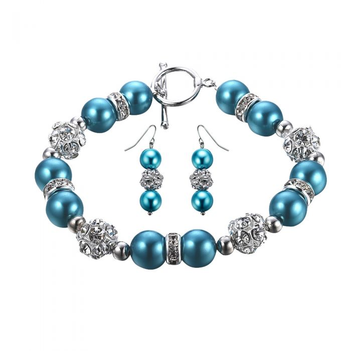Image for Blue Pearls, Crystal and Rhodium Plated Bracelet and Earrings Set