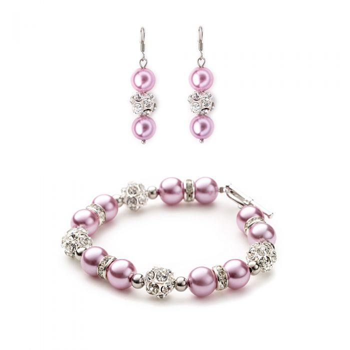Image for Pink pearls and crystal bracelet and earrings set