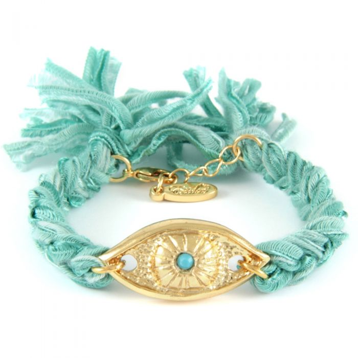 Image for Ettika - Turquoise Ribbons and Yellow Gold Eye Bracelet