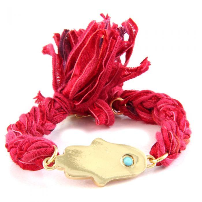 Image for Ettika - Red Ribbons and Yellow Gold Hamsa Bracelet