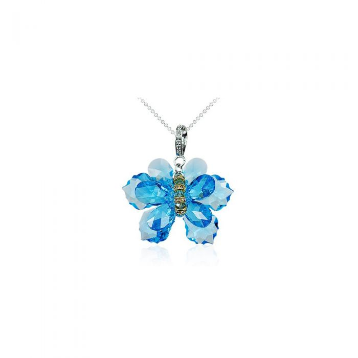 Image for Butterfly Necklace made with Blue Crystal