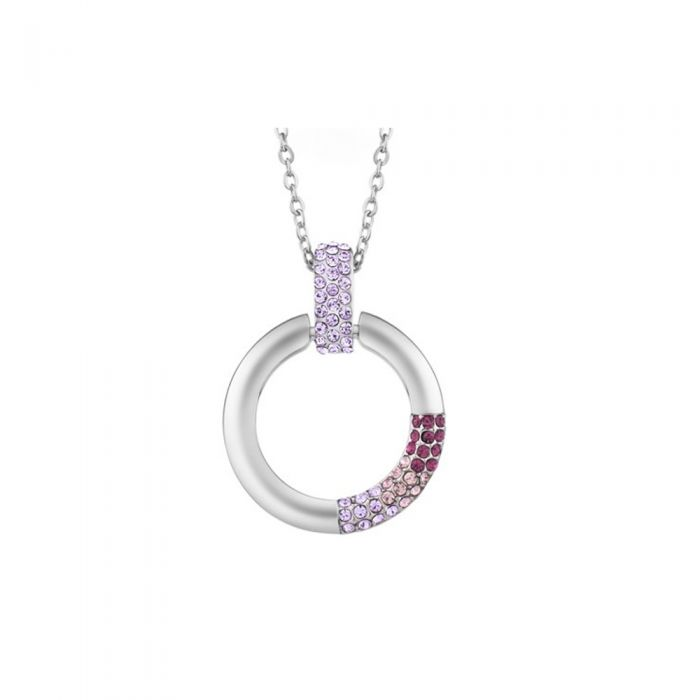 Image for Purple Swarovski Crystal Elements Circle Pendant and Rhodium Plated