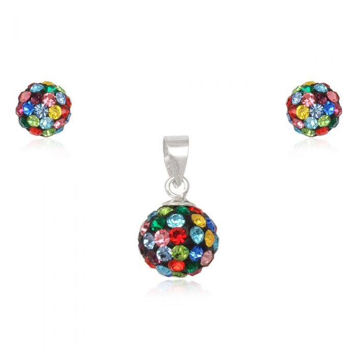 Image for Multi-coloured crystal pendant and earrings set