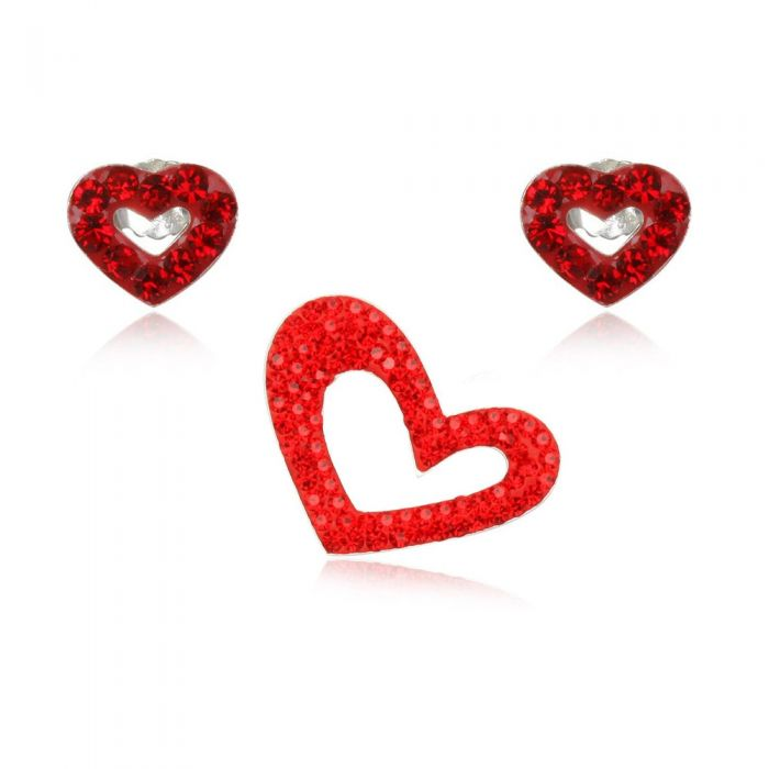 Image for Red Crystal Hearts Pendant and Earrings Set and 925 Silver
