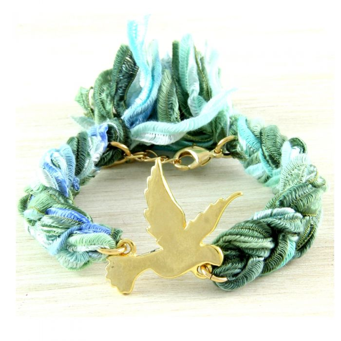 Image for Ettika - Green Ribbons and Yellow Gold Dove Bracelet