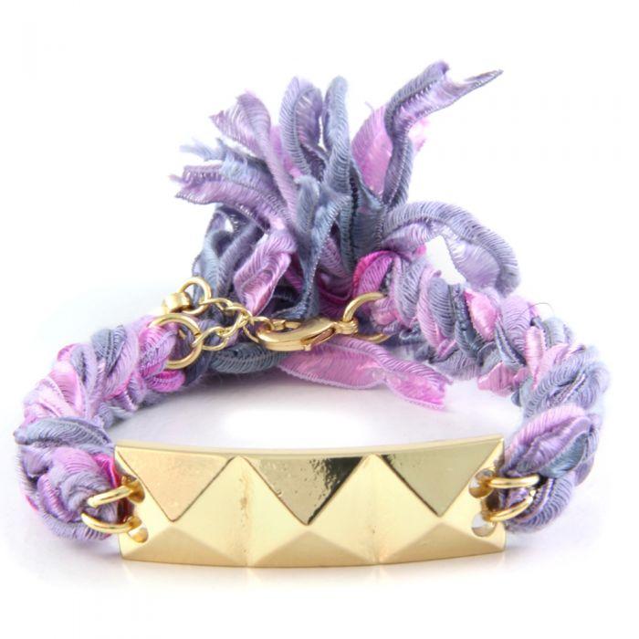 Image for Ettika - Purple Ribbons and Yellow Gold Pyramid Bracelet