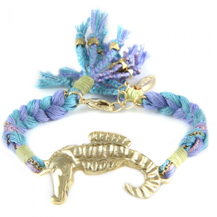 Image for Ettika - Blue Ribbons and Yellow Gold Seahorse Bracelet