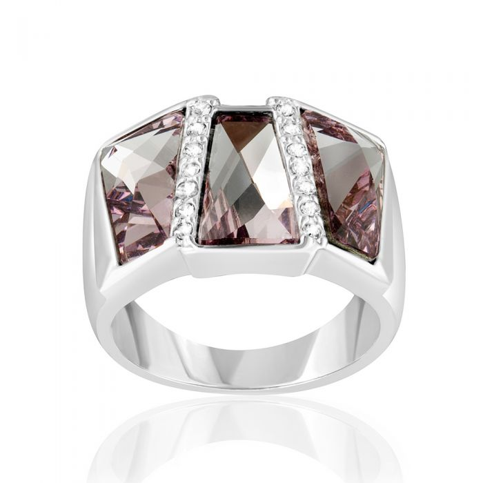 Image for Pink Swarovski crystals and rhodium-plated ring