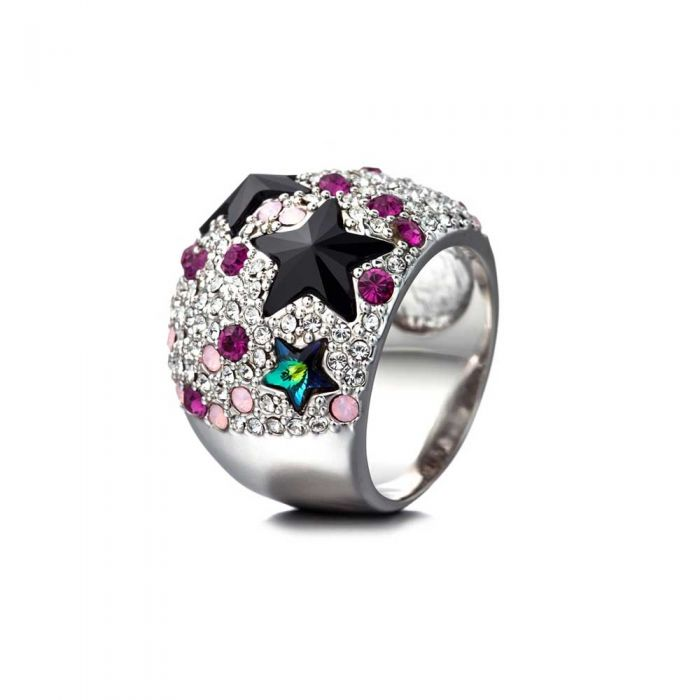 Image for Pink Swarovski crystals stars dome ring