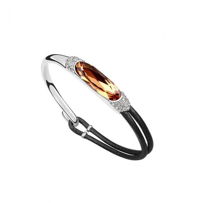 Image for Leather and gold Swarovski crystals bracelet