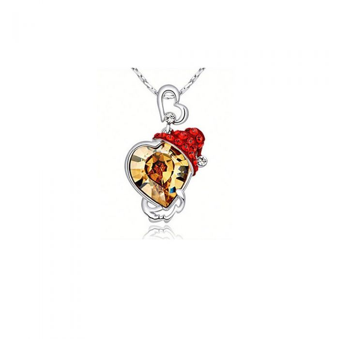 Image for Heart Pendant Swarovski Crystal Elements and Red Hat
