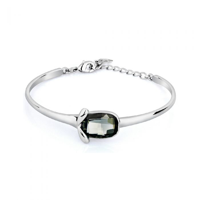 Image for Black diamond swarovski crystal elements and rhodium-plated bangle