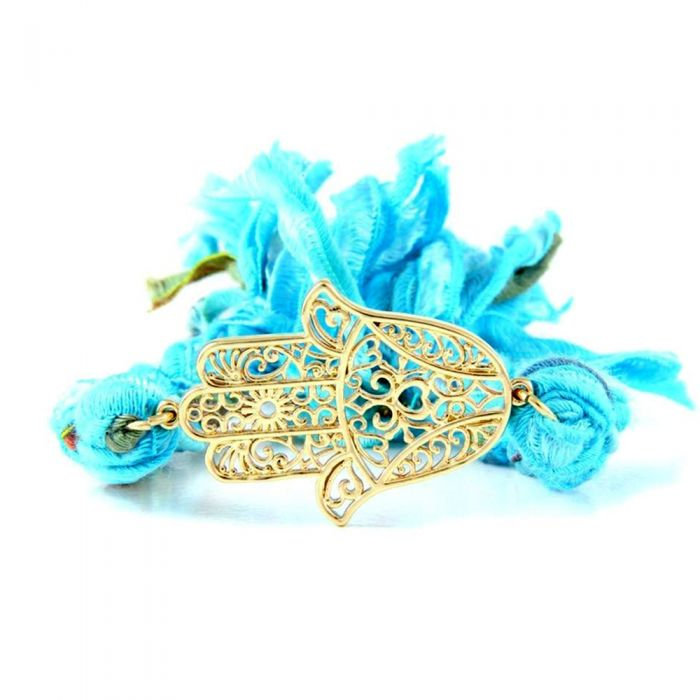 Image for Ettika - Blue Ribbons and Yellow Gold Hamsa Bracelet