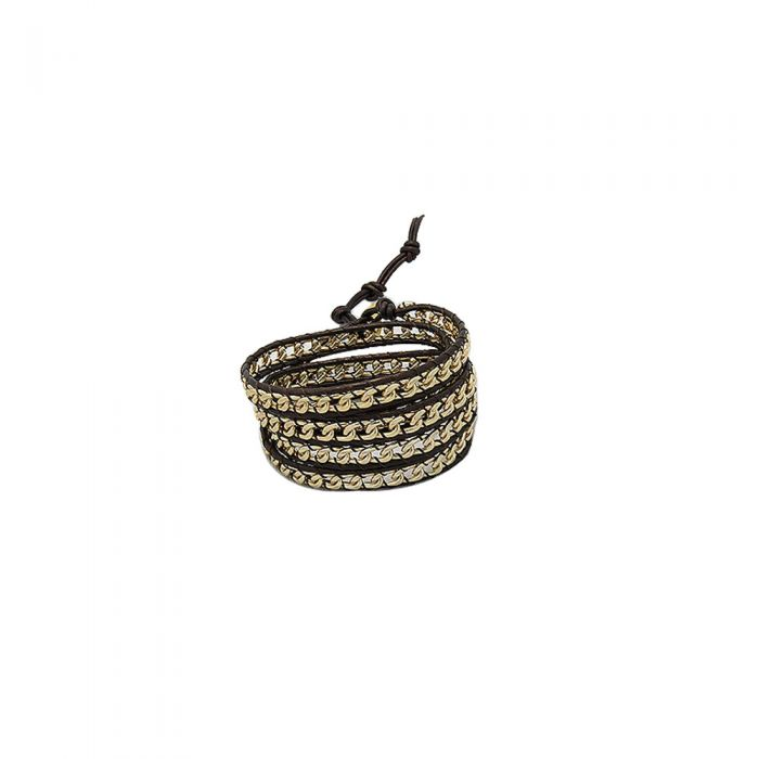 Image for Gold Metal and Leather Wrap Bracelet