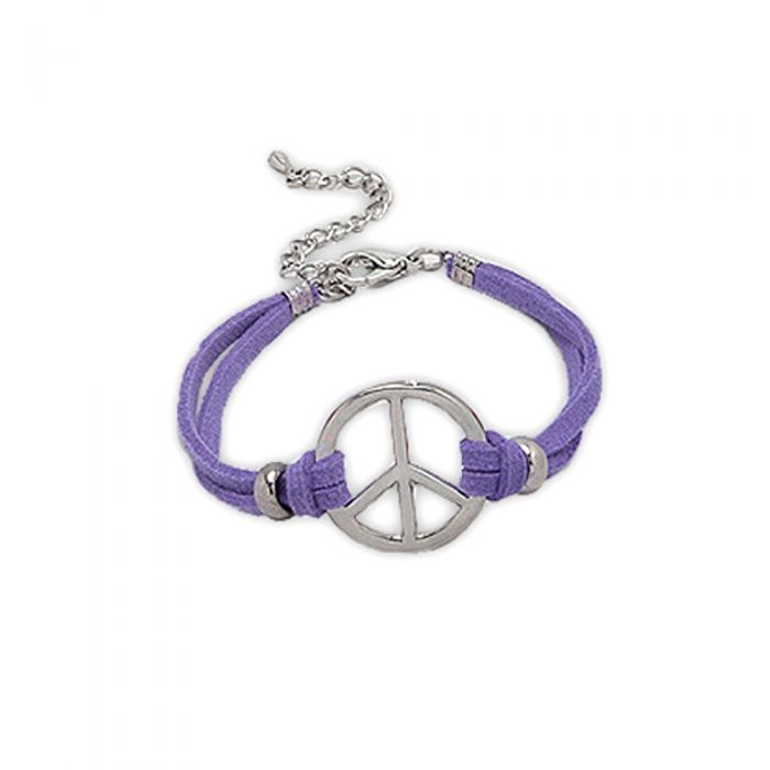 Image for Purple Suedin Peace and Love Bracelet