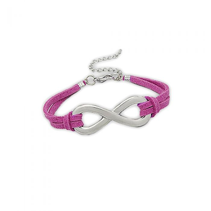 Image for Pink Suedin Infinity Bracelet and Rhodium Plated