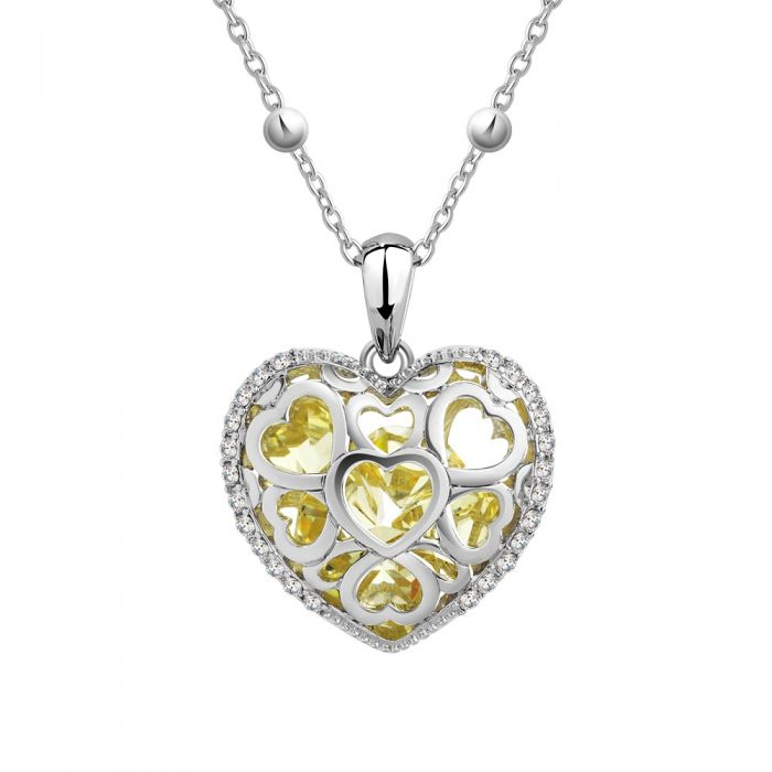 Image for Yellow Swarovski crystals heart pendant