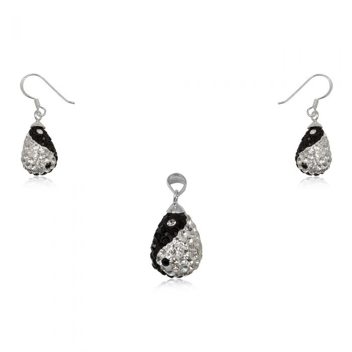 Image for Ying Yang Crystal and 925 Silver Pendant and Earrings Set