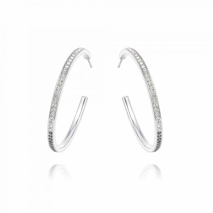 Image for White and black diamond swarovski crystals hoop earrings