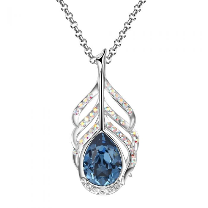 Image for Blue swarovski crystal peacock feather pendant