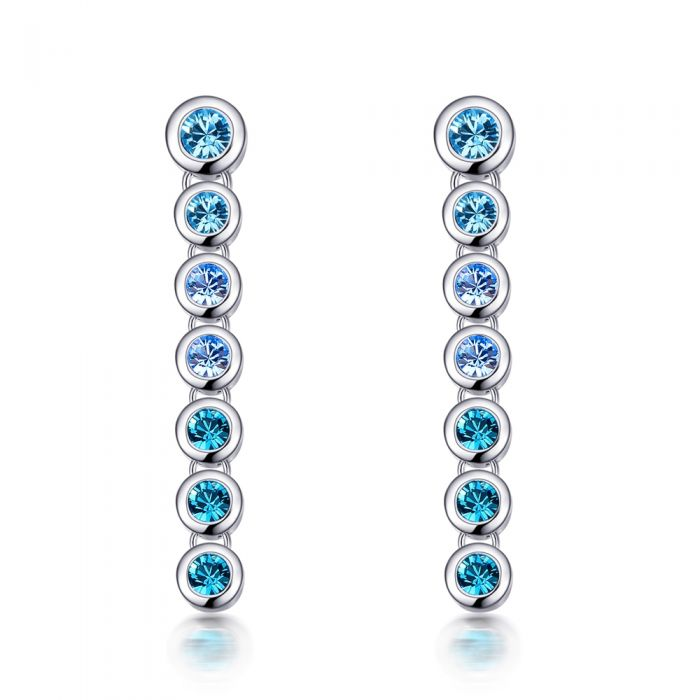 Image for Swarovski - Blue Swarovski Crystal Elements Earrings and Rhodium Plated