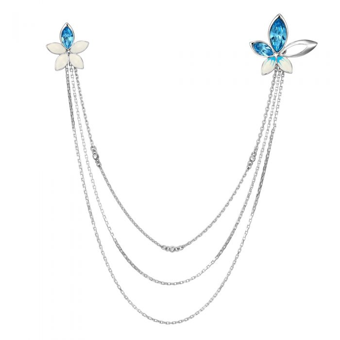 Image for Blue Swarovski crystals  and rhodium-plated button flower necklace