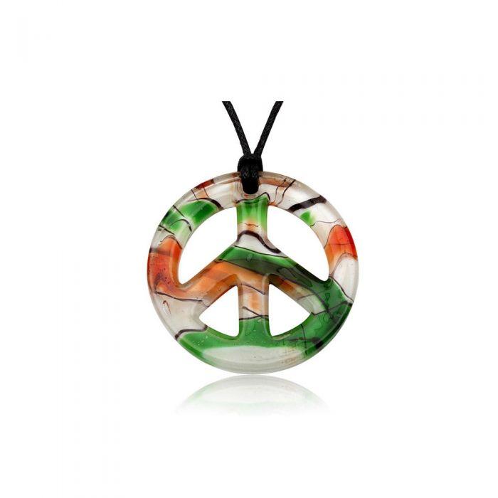 Image for Peace Pendant Green Murano Glass