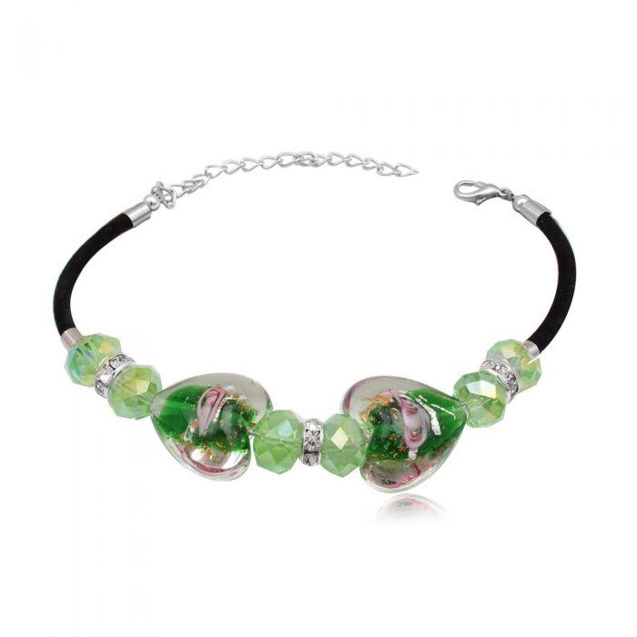 Image for Green Heart Beads Murano Glass Bracelet