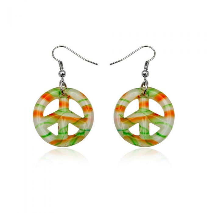 Image for Earrings Peace Orange and Green Murano Glass