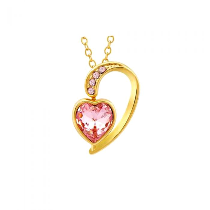 Image for Pink Swarovski crystals and gold-plated heart pendant