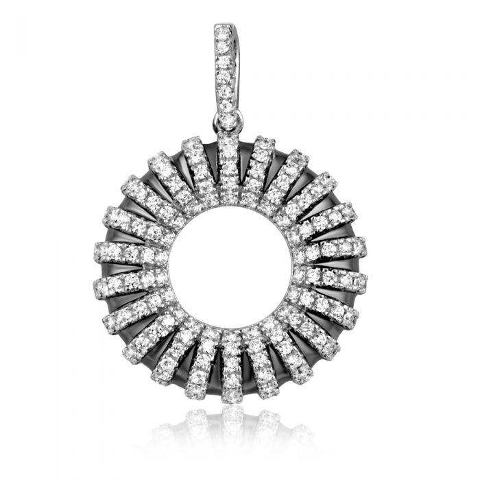 Image for Silver and white Swarovski crystals circle pendant