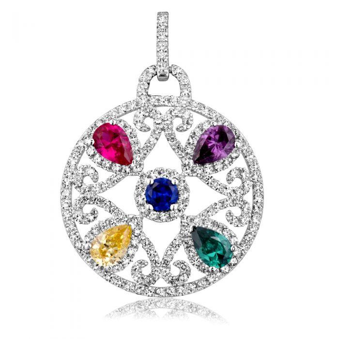 Image for Multi-coloured Swarovski crystals circle pendant