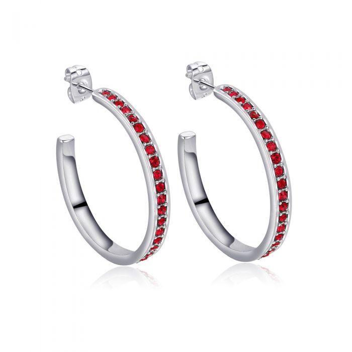 Image for Red Swarovski crystals hoop earrings