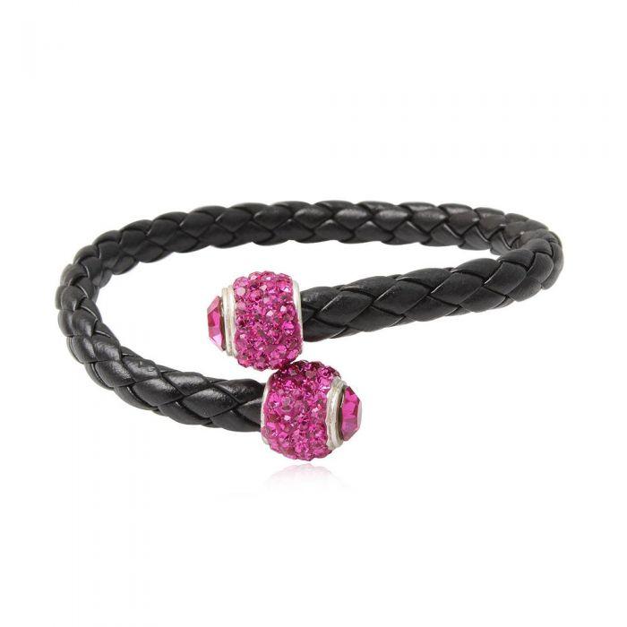 Image for Black leather pink crystal pearls bracelet