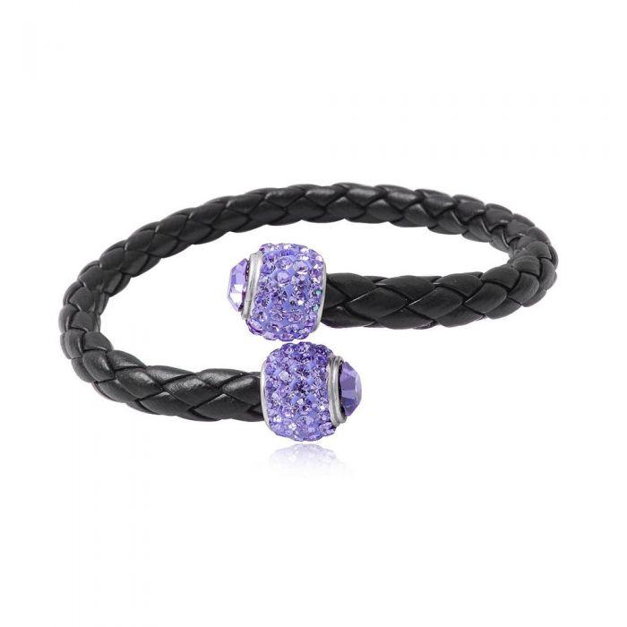Image for Black leather purple crystal pearls bracelet