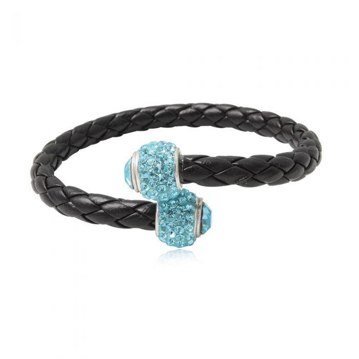 Image for Black leather blue crystal pearls bracelet