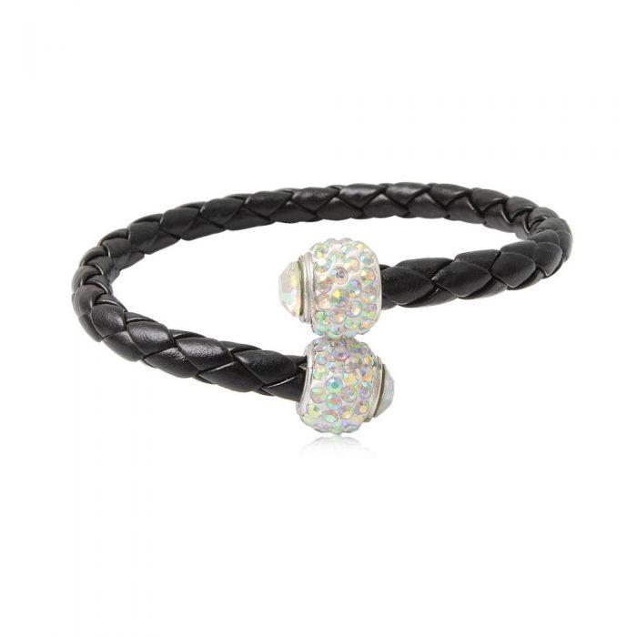 Image for Black leather white crystal pearls bracelet