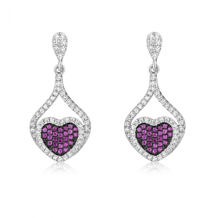 Image for Pink Swarovski crystals heart earrings