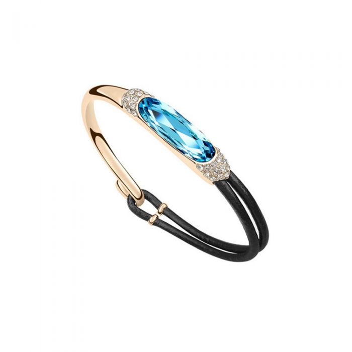 Image for Swarovski - Black Leather and Blue Swarovski Crystal Elements Bracelet