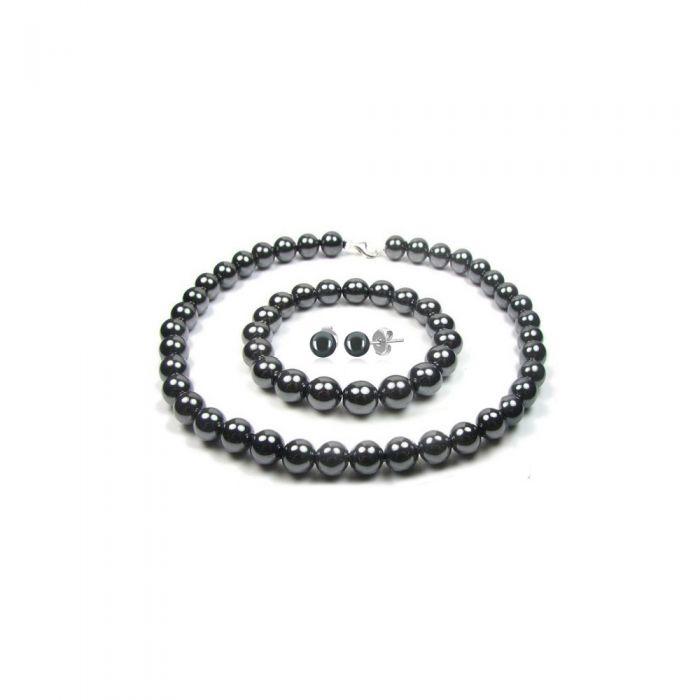 Image for Black Hematite Pearls Necklace, Bracelet and Earrings Women Set