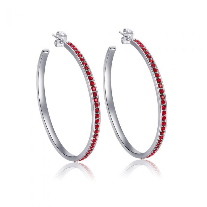 Image for Red Swarovski crystals large hoop earrings
