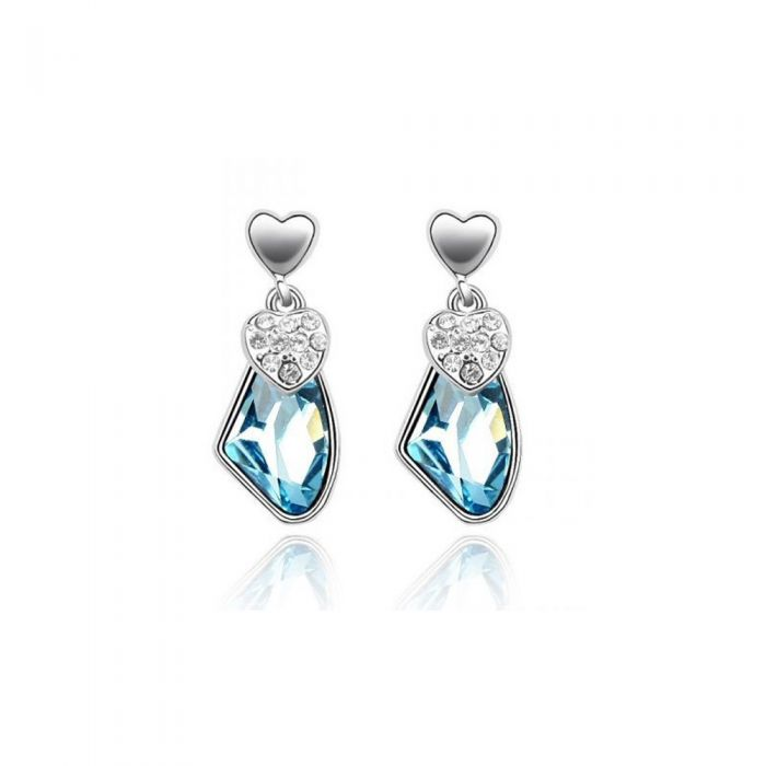 Image for Swarovski - Hearts Earrings made with a blue Crystal from Swarovski